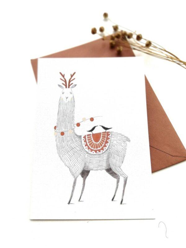 Ansichtkaart Lama (Winterkaartjes)
