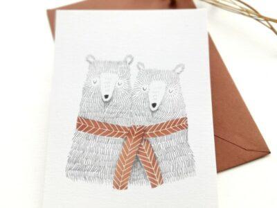 Ansichtkaart Twee Beren (Aline Tekent)