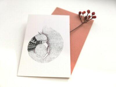 Ansichtkaart Eekhoorn Aline Tekent